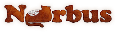 'Norbus' title with ginger fur effect and 'O' is the shape of Norbus the cat.
